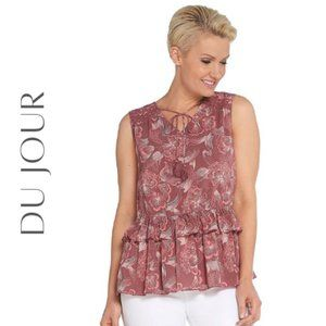 DU JOUR Printed Sleeveless Top with Ruffle Hem, S